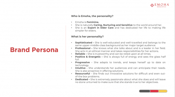 After 3 days of intense visioning sessions with the promoters of the brands, a brand persona for Emoha was decided. The brand persona closely reflect the vision of the brand, the attitude and personas of the founders and promoters and helped us develop the brand collateral and tone based on the same.