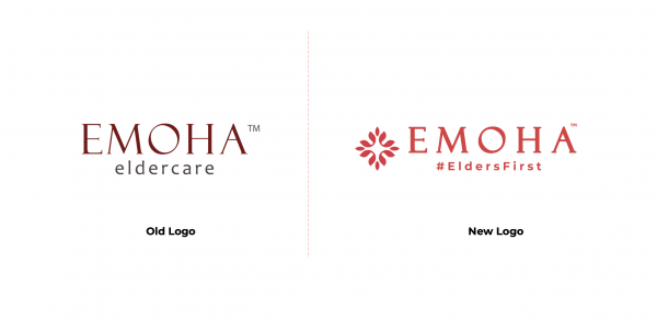 A complete revamp of the brand required a strategy that was thought inside-out. The older logo had a more serious, traditional tone to it and was difficult to separate from its misunderstood persona of another healthcare brand rather than an eldercare specialist brand.  While the original title font was retained, it was thickened to increase visibility since the brand regularly interacted with elders. The brand colors were changed to a more vibrant and happier tone. The tagline #EldersFirst was added to the logo and it replaced the word 'eldercare' to disassociate it from the healthcare image. The # was intentionally used in the tagline to indicate the brand's digital approach. The emblem of the elder-flower was also added to the side to visually represent the brand persona.