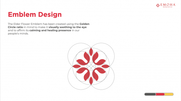 To represent the caring, nurturing and graceful brand persona of Emoha towards elders, a word-mark was not sufficient. We researched about elders and eldercare and took a deep dive into eldercare and rituals related to them and stumbled upon the mythology of the elder-flower. And hence, chose to form an emblem that visually represents the brand's ethos.