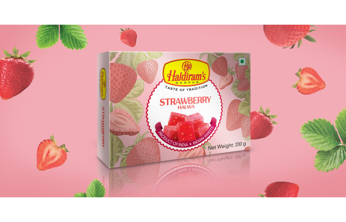 Reinforcing the freshness, rich flavour, and delectable taste of Haldiram's Halwas in packaging design (graphics) towards positioning the range as the perfect gift for festive occasions